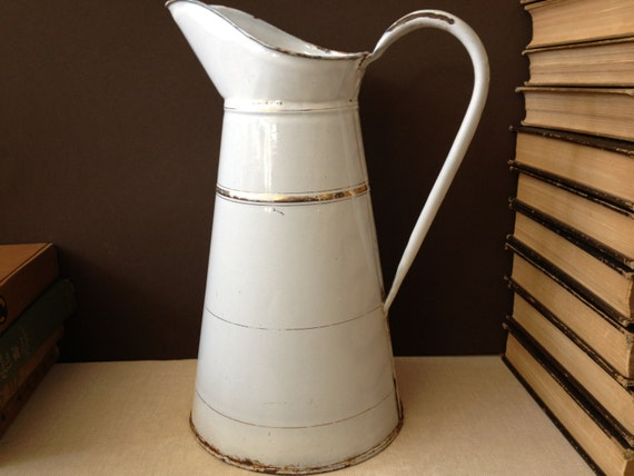 1930s French Enamel Pitcher White And Gold Pinstripe Large