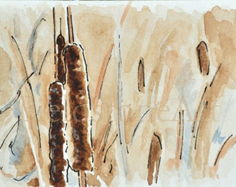 Watercolor ACEO painting of cattails bulrushes original art