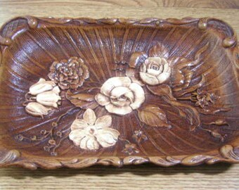 Syrocco Wood Tray, 1940s Carved Ornawood,  Floral Design,  Vintage Decorative Brown Tray