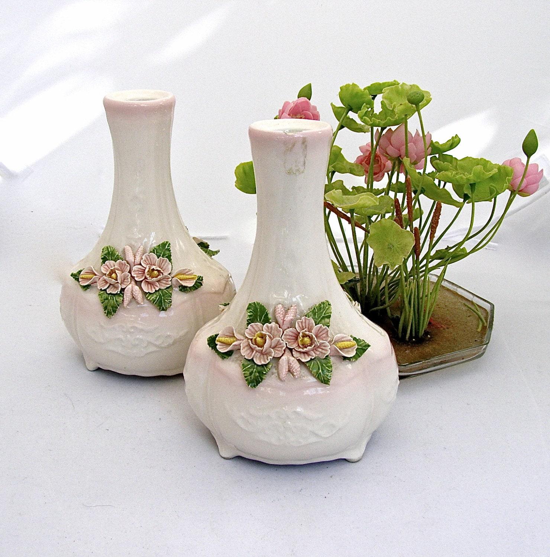 Ceramic bud vases pink hand painted flower vase set applied - Decorative flower vase ...