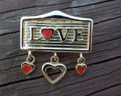 Vintage Love Brooch, Gold Tone and Red Enamel, Hearts, Nice Condition.