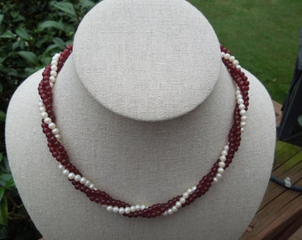 Vintage AVON Necklace.  1981 Torsade, 16 -16.5 Inches.  Red and White Beads and Faux Pearls.  Unsigned
