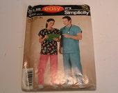 Simplicity Pattern 4644 Scrubs Miss Men Teen Pants Top