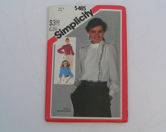 Vintage Simplicity Pattern 5485 Miss Asymmetrical Blouse Transfer Included
