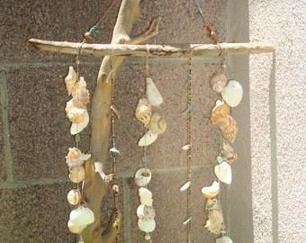 Large Rustic Hippie Seashell Crystal Beachcomber Wind Chime Mobile Suncatcher Home decor