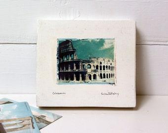 Rome, Italy.  Colosseum.  Polaroid Image Transfer on Ceramic Canvas.  Ancient Italian Architecture.  Vintage Found Travel Photo.