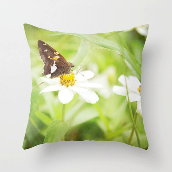 Brown butterfly on white flowers green pillow case nature - Brown butterfly meaning money ...