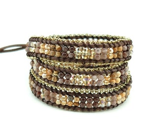 Gold plated chain,jasper wrap bracelet.