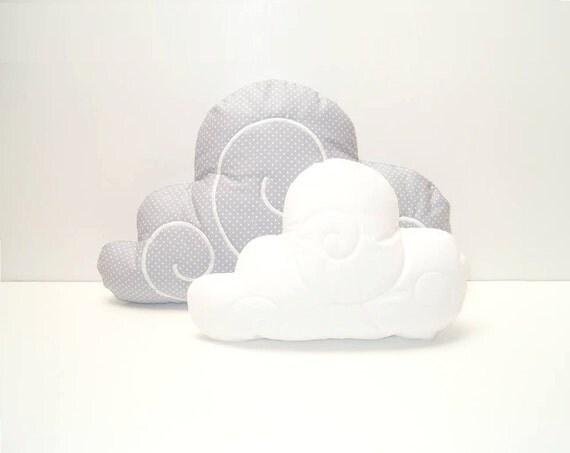 Cloud Pillow Set (2)  - Nursery Decor - Kid Pillow -Light grey and white polka dot - White