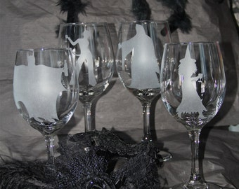 Set of 4 Hand etched Halloween wine glasses