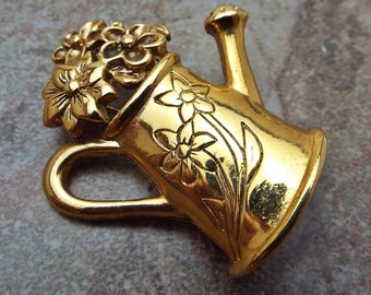 Watering Can Flower Brooch Pin in Goldtone