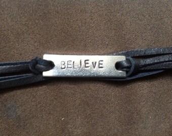 Hand Stamped Believe Bracelet