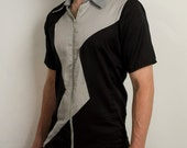 Goth Lightning bolt dress shirt with zipper in black and gray