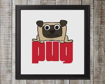 Pug Illustration, Fawn