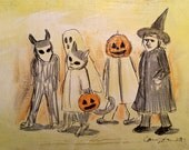 Halloween trick or treaters walking original drawing in India ink on acrylic painted archival mattboard.