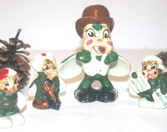 Occupied Japan Adorable Bug Set of 4, Porcelain Decor, Glass, Insects, Antique Alchemy
