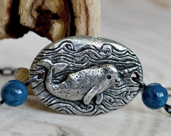 Artisan Crafted Narwhal Necklace, Pewter Narwal Whale and Natural Stone Necklace, Green Girl Studios