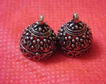 Bronze plated  small jhumkas or Indian hanging earring bases x 2, 12mm, free combined shipping