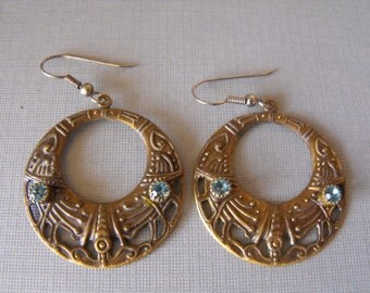 Vintage Earrings Egyptian Brass Hoop with Aquamarine stones