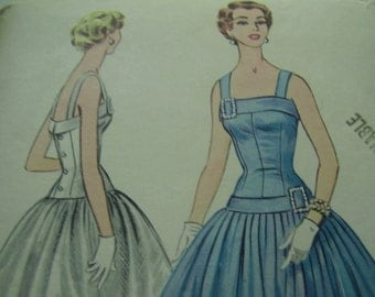 Vintage 1950's McCall's 3185 Dress Sewing Pattern Size 16, Bust 34