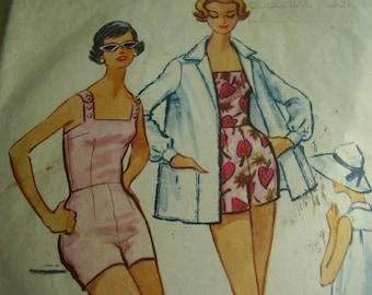 Vintage 1950's McCall's 4941 Playsuit, Bathing Suit and Beach Jacket Sewing Pattern, Size 12, Bust 32