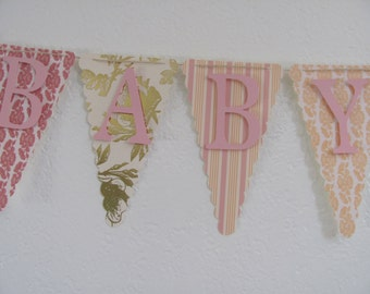 Pink, Peach and Gold Baby Shower Banner, Baby Shower Decorations