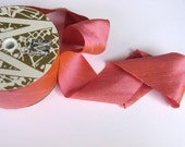 "Bosa Nova coral Midori Dupioni Ribbon 2"" wide sold by the yard"