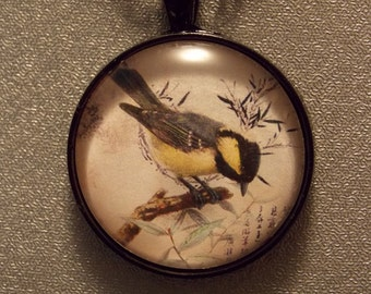Glass Pendant Necklace - Woodland Finch