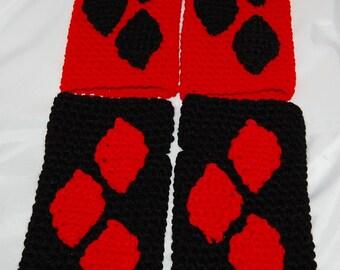 Black or Red Diamonds Fingerless Gloves in Red or Black