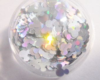 "Holo Silver Mickey Mouse Heads 1 Ounce 1/8"" Shape Glitter"