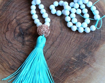 Aqua Necklace - White Beaded Necklace - Tassel Necklace - Long Necklace