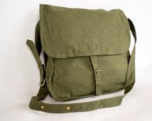 Vintage Military Bag, Army Bag, Canvas Messenger Bag, School Bag, Crossbody Bag, Army Shoulder Bag, Unisex Bag