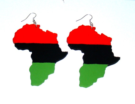 Red black and green pan african print africa by for Red black and green jewelry