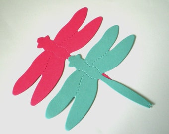 20 Large Pink and Blue Die Cut Dragonflies