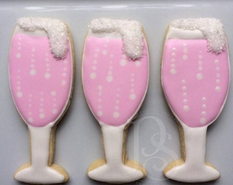 Bubbling Champagne Glass Cookies, One Dozen