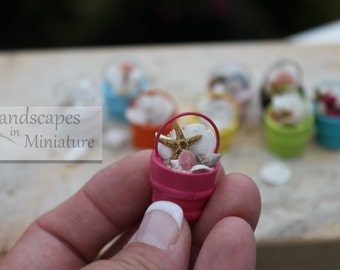 Miniature PAINTED Beach Bucket of Seashells, Starfish or Sand Dollar for your Wedding Topper - by Landscapes In Miniature