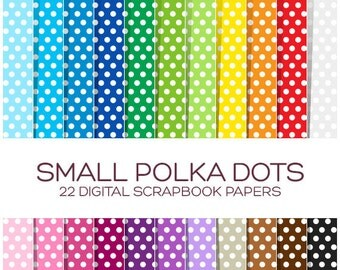 Polka Dot Digital Paper Pack Polka Dot Paper Sale Digital Scrapbook Paper Digital Background Rainbow Digital Paper Digital Textures - P00005
