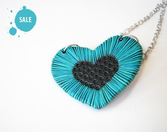 "SALE 40% OFF / Heart Jewelry / OOAK, blue heart necklace, polymer clay necklace, valentine's day / ""Wisdom of the Heart"" /"