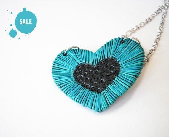 """SALE 40% OFF / Heart Jewelry / OOAK, blue heart necklace, polymer clay necklace, valentine's day / """"Wisdom of the Heart"""" /"""