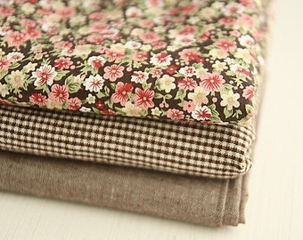 Cotton Fabric Petit Brown - Floral, Checker or Solid - By the Yard 13379