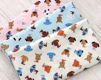 Cotton Fabric Cute Puppies - Pink, Blue or Ivory - By the Yard 50157