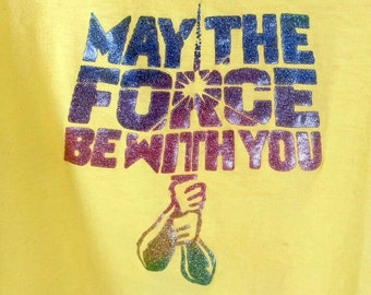 "SALE! Vintage STAR WARS Tee - ""May The Force Be With You"" rainbow glitter iron-on yellow t shirt / vtg Large (modern Small / Medium)"