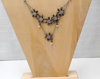 Brushed Silver Pearl Floral Garden Tiered Necklace
