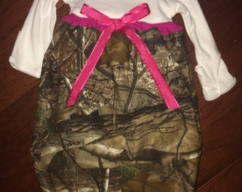 Camo and pink baby gown