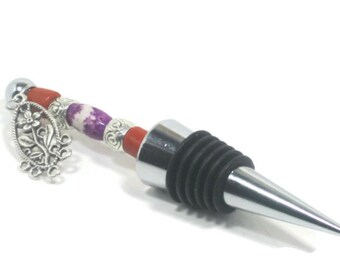 Beaded Wine  Bottle Stopper, Fall Inspired Wine Gift, Decorative Wine Accessory