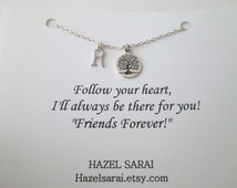 Tree, Initial Friendship Necklace- Friend Quote Card