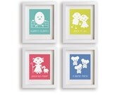 Nursery Rhymes Set of Four Art Prints - Baby's Nursery, Educational, Nursery Decor, Nursery Art, Children's Wall Art, Playroom Decor
