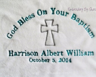 Christening Blanket  -  boys Baptism Blanket  - Personalized birth blanket - personalized baptism blanket -
