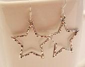 Silver star earrings, rustic textured star earrings