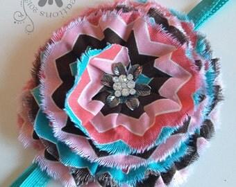 FALL Headband - CHEVRON headband - fits Girls to Adult Headband - brown & pink chevron headband
